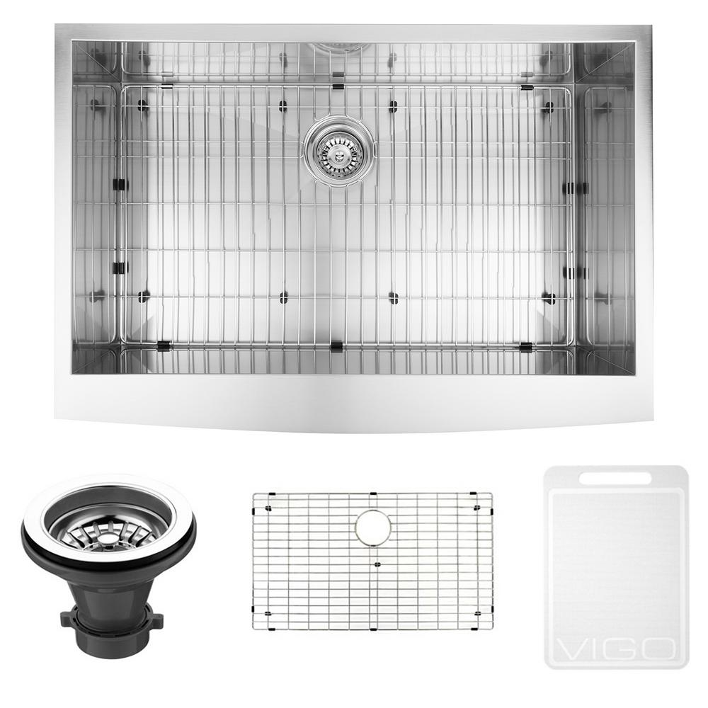 VIGO Farmhouse Apron Front Stainless Steel 36 in. Single Bowl Kitchen Sink with Grid and Strainer