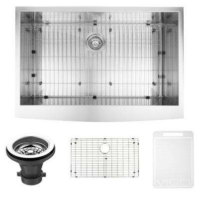 Farmhouse Apron Front Stainless Steel 36 in. Single Bowl Kitchen Sink with Grid and Strainer