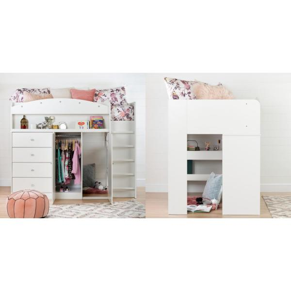 South Shore Tiara 4 Drawer Pure White Twin Size Loft Bed 10523