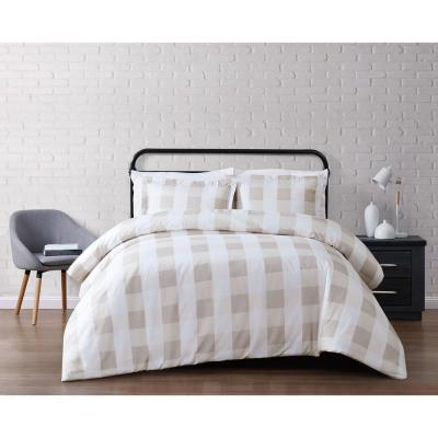 Everyday Buffalo Plaid Khaki Full / Queen Duvet Set