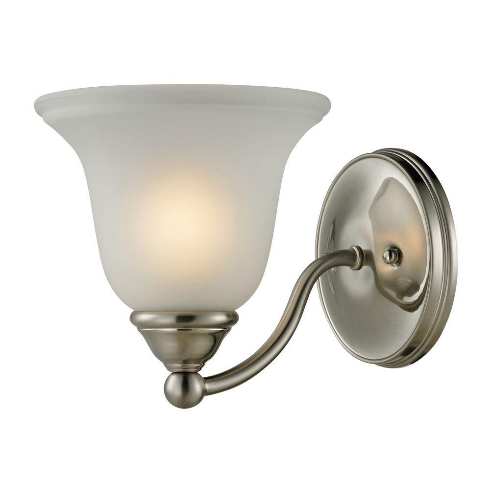 Titan Lighting Shelburne 1 Light Brushed Nickel Wall Mount Bath Bar Light Tn 50128 The Home Depot