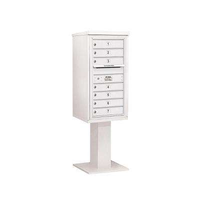 3400 Series White Mount 4C Pedestal Mailbox with 7 MB1 Doors