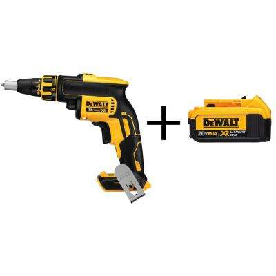 20-Volt MAX XR Lithium-Ion Cordless Brushless Drywall Screw Gun (Tool-Only) with Free XR Battery Pack 4Ah