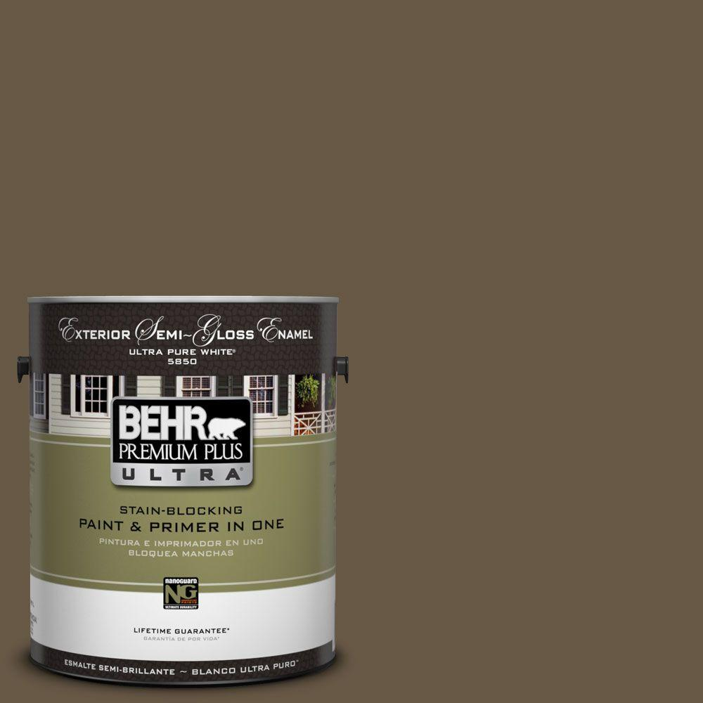 BEHR Premium Plus Ultra 1-Gal. #UL180-28 Clove Brown Semi-Gloss Enamel Exterior Paint