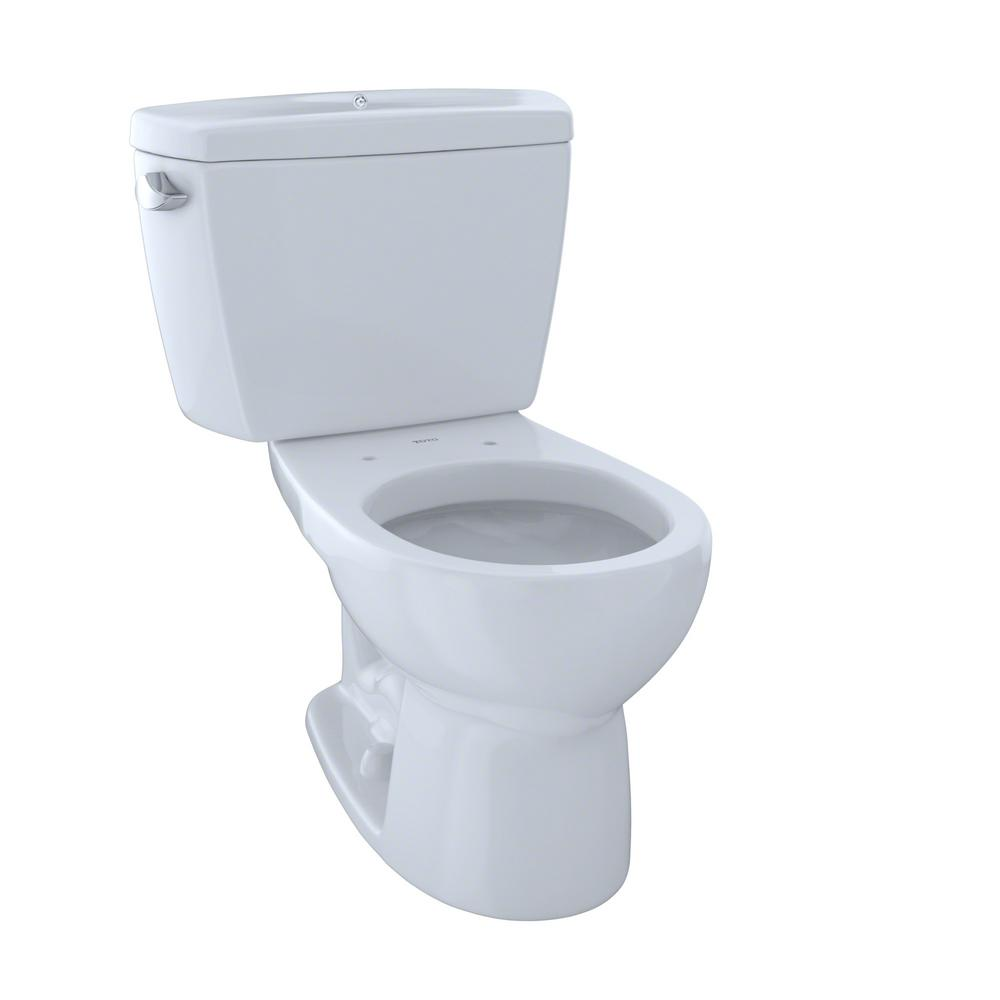 TOTO Drake 2-Piece 1.6 GPF Single Flush Round Toilet with Bolted ...