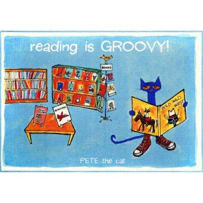 Pete The Cat Elementary Multi Reading is Groovy 35.4 in. x 51 in. Indoor Area Rug