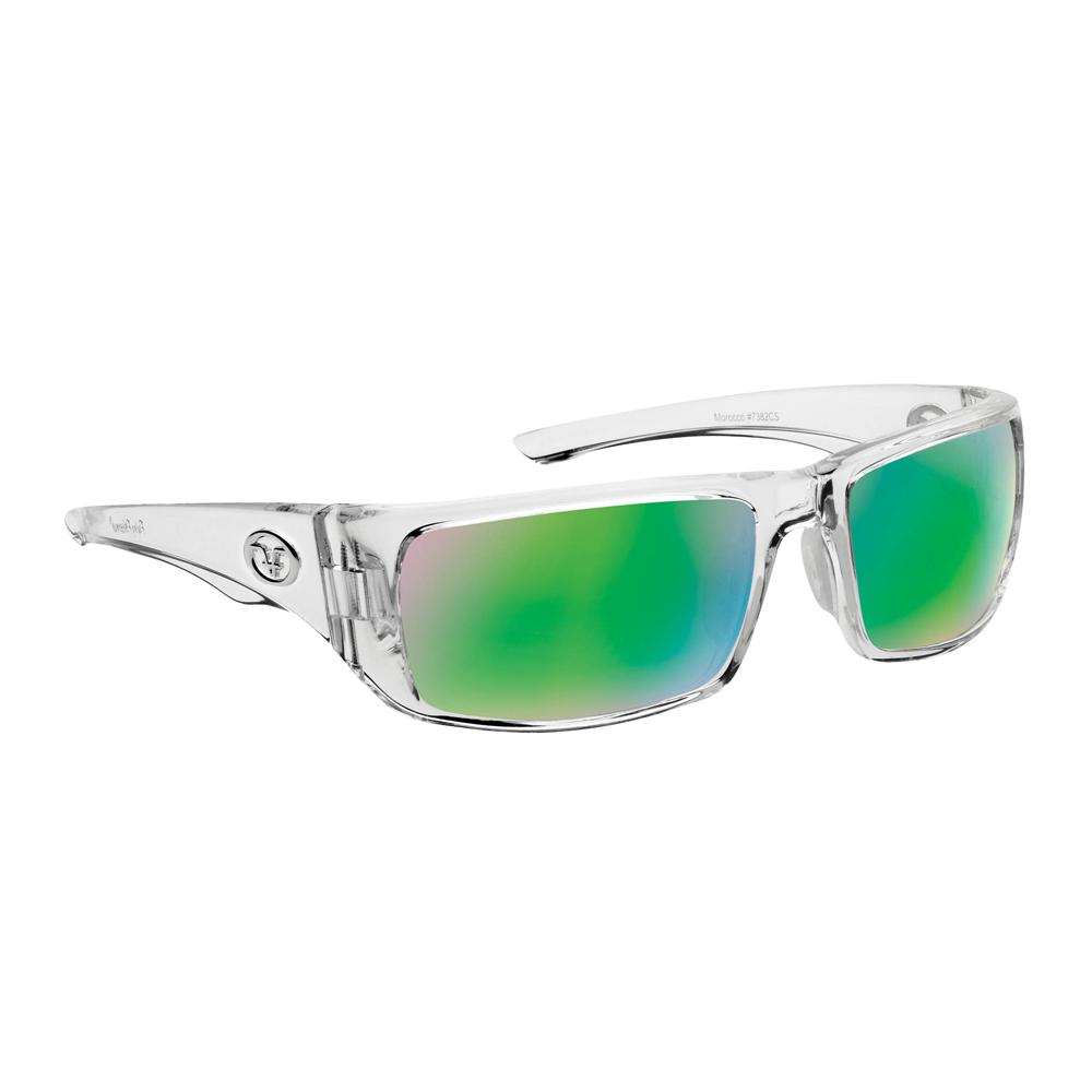 72eb8cd900 Flying Fisherman Morocco Polarized Sunglasses Crystal Frame with Amber  Green Mirror Lens