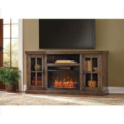 Manor Place 67 in. TV Stand Bluetooth Electric Fireplace in Ash