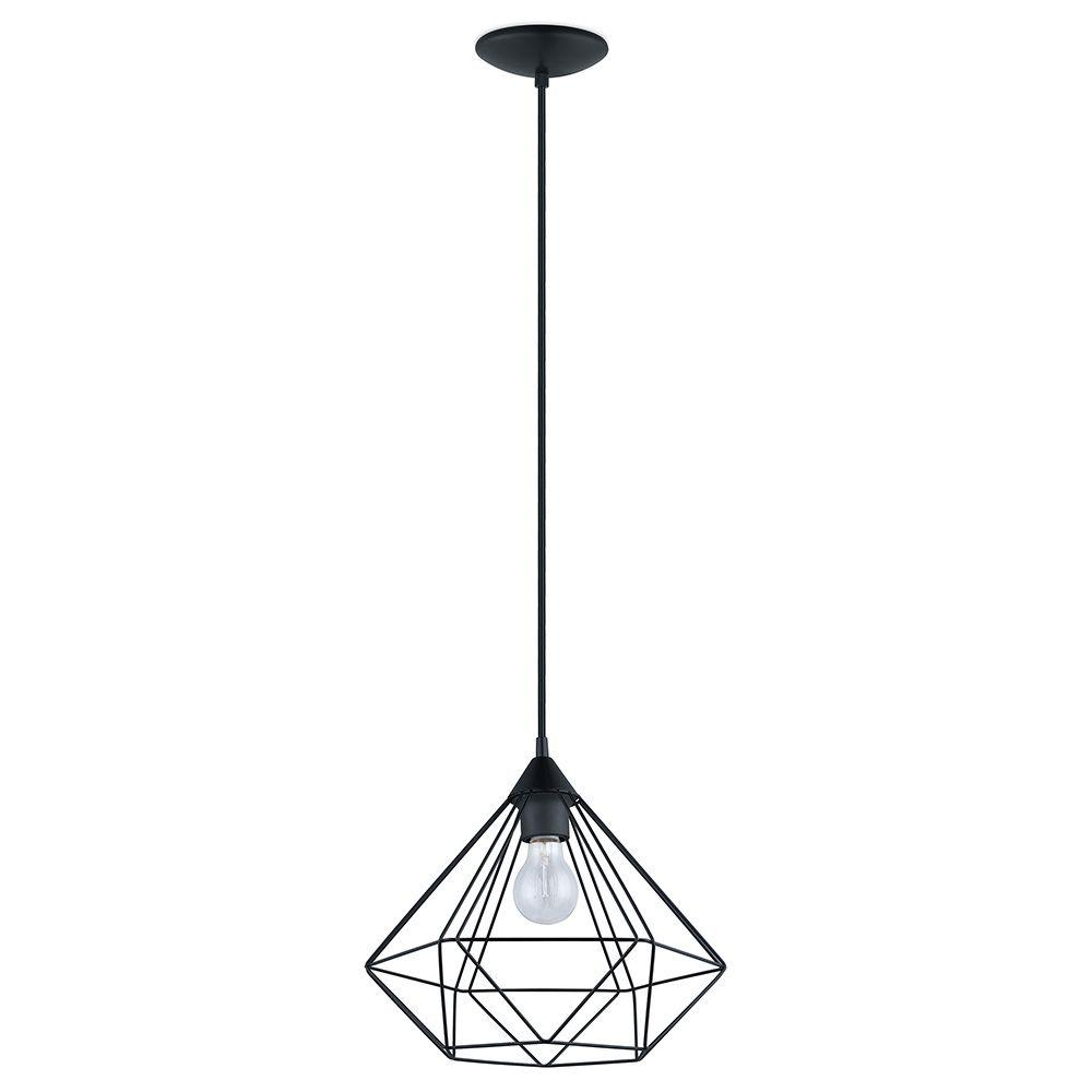 Eglo tarbes 1 light matte black pendant 94188a the home for Suspension luminaire filaire