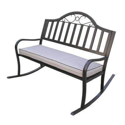 Rochester Metal Outdoor Rocking Chair with Tan Cushions