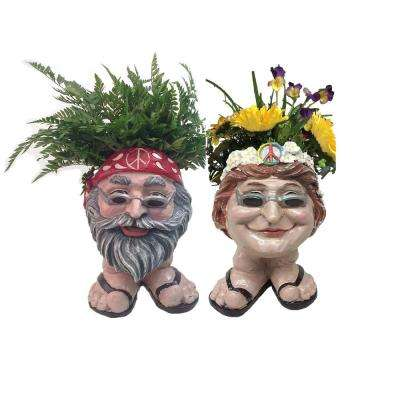 13 in. H Hippie Jerry and Hippie Chick Janice Painted Muggly Face Planter Statue Holds 4 in. Pot