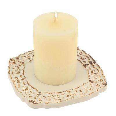 Worn White Ceramic Cross Plate Candle Holder
