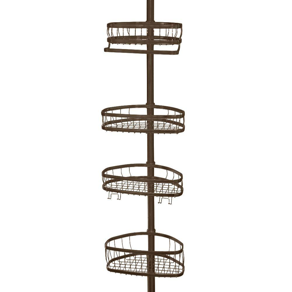 interDesign York 5 to 9 ft. Tension Pole Shower Caddy in Bronze ...