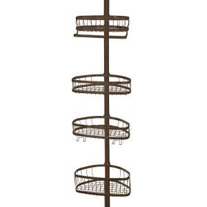 interDesign York 5 to 9 ft. Tension Pole Shower Caddy in Bronze by interDesign