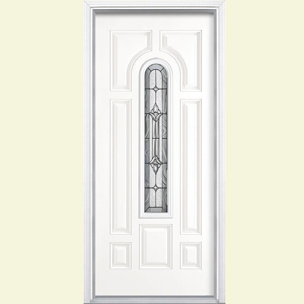 Masonite 36 in. x 80 in. Providence Center Arch Right-Hand Painted Smooth Fiberglass Prehung Front Door w/ Brickmold, Vinyl Frame