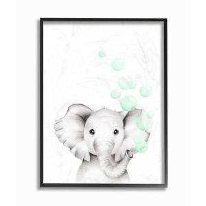 The Kids Room By Stupell 16 In X 20 In Cute Cartoon Baby Elephant Zoo Painting By Studio Q Framed Wall Art Brp 2410 Fr 16x20 The Home Depot