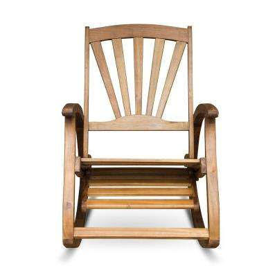 Sunview Teak Brown Wood Outdoor Rocking Chair with Footrest