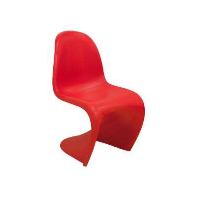 S Shape Red Plastic Dining Side Chair