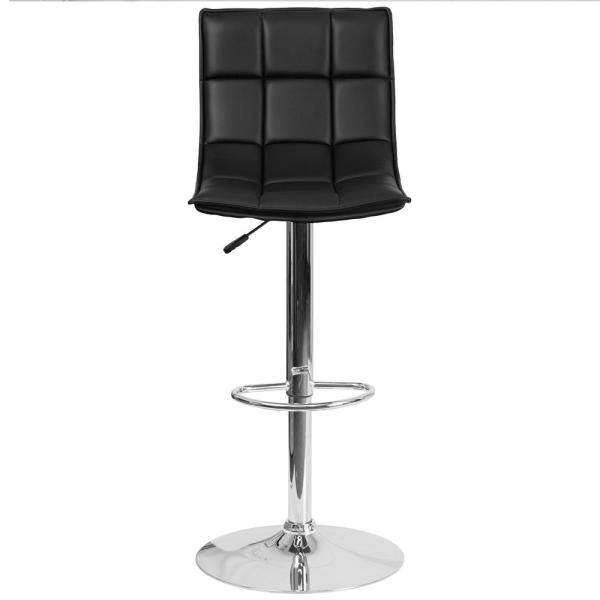 Flash Furniture Adjustable Height Black Cushioned Bar Stool CH920261BK