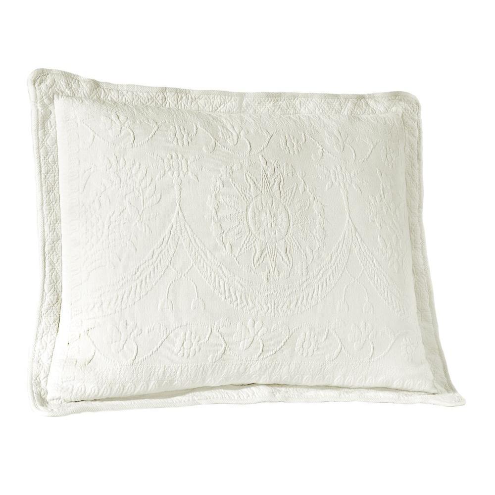 Historic Charleston Collection King Charles White Matelasse Cotton King Pillow Sham