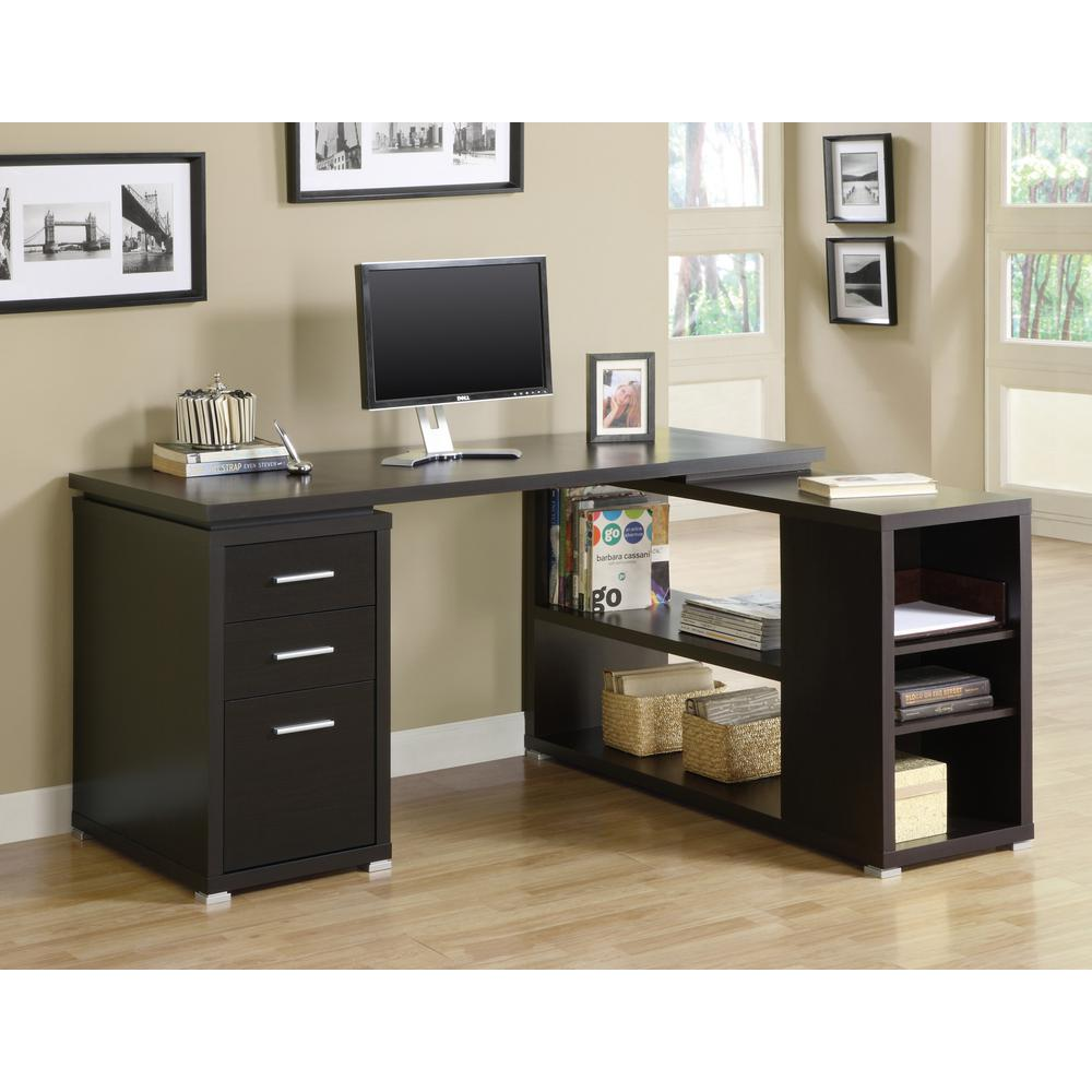Monarch 2 In 1 Piece Dark Taupe Office Suite I 7319 The Home Depot