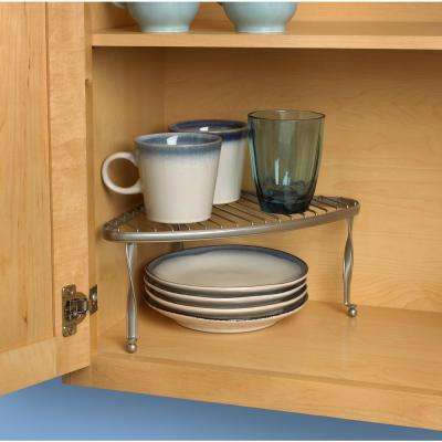 Taylor 5.75 in. x 13.5 in. x 9.75 in. Steel Corner Shelf in Satin Nickel