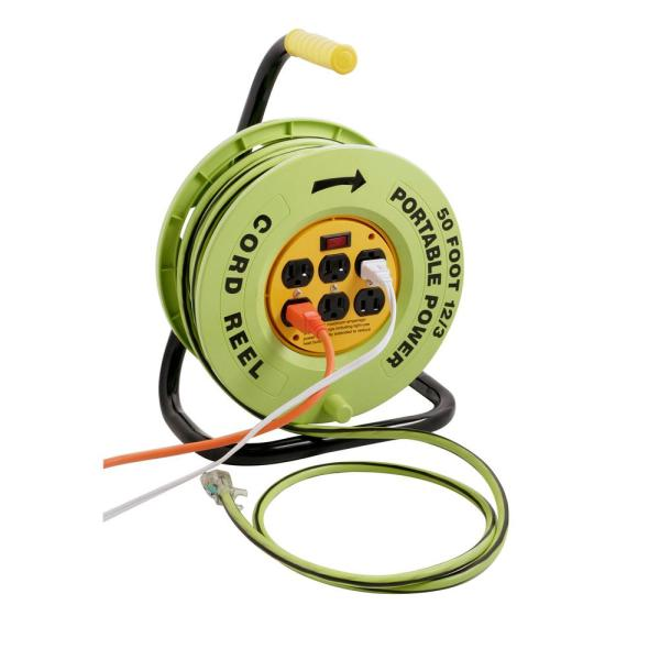 50 ft. 12/3 Cord Reel Power Station with 6 Outlets