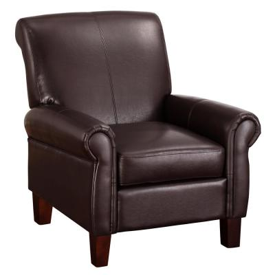 Faux Leather Brown Club Chair