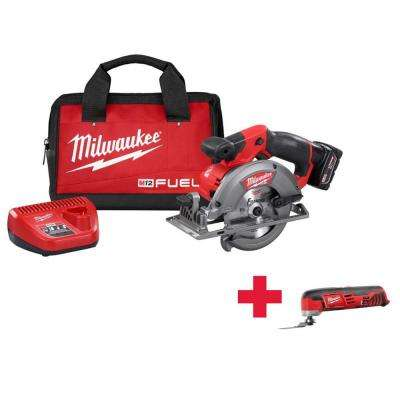 M12 FUEL 12-Volt Lithium-Ion 5-3/8 in. Cordless Circular Saw Kit /W Free M12 Mutli-Tool