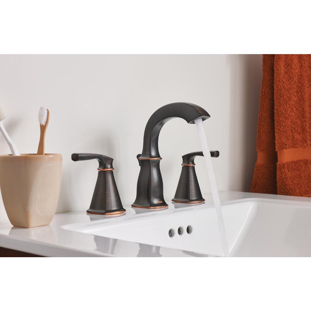 Moen Hensley 8 In Widespread 2 Handle Bath Faucet With 3 Piece Hardware Set In Mediterranean Bronze 24 In Towel Bar 84412br 8w3pc24 The Home Depot