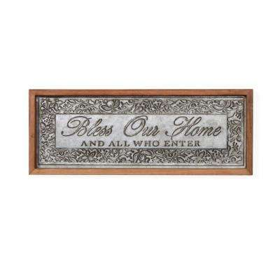 Inspirational Bless Our Home Framed Metal Art Sign