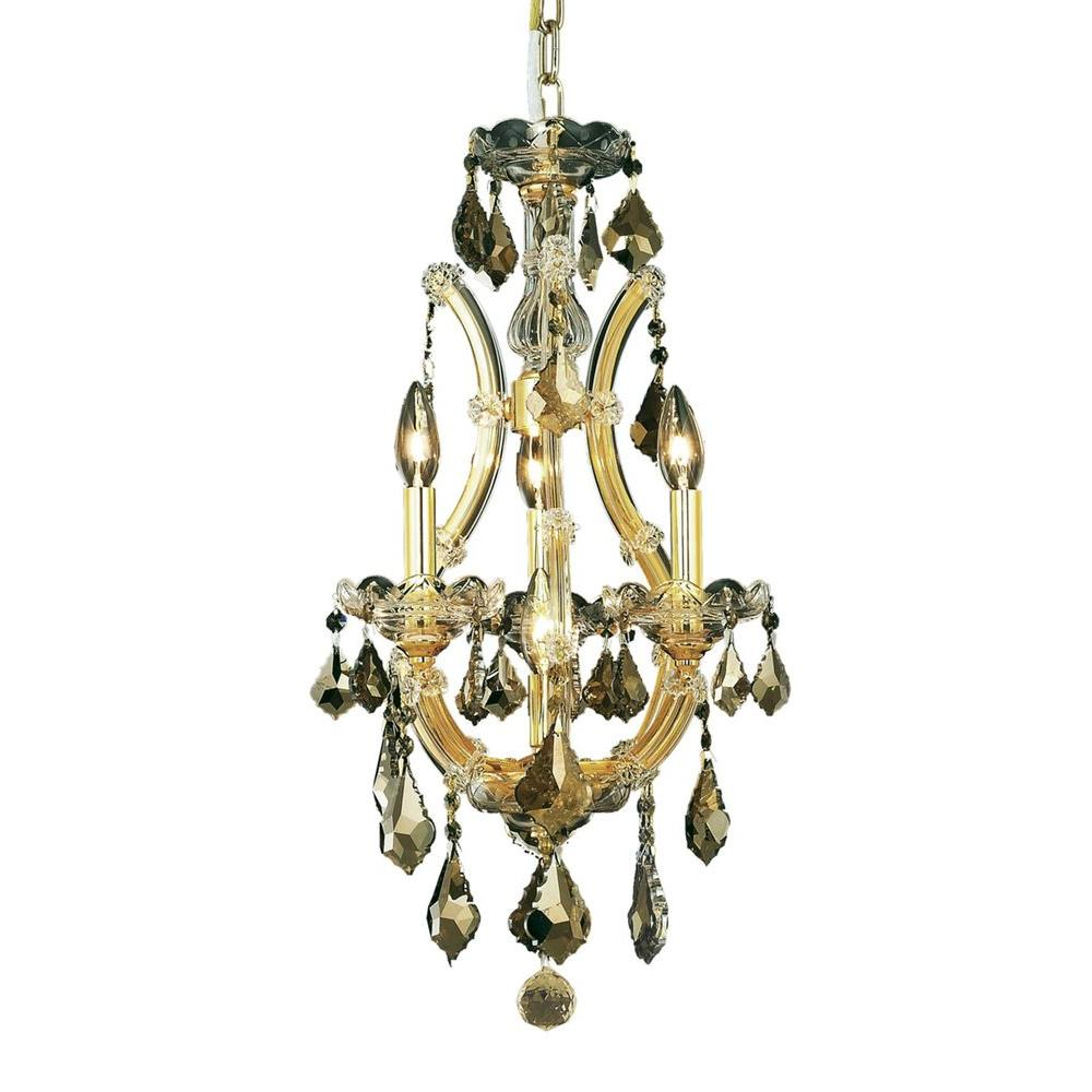 Elegant Lighting 4-Light Gold Chandelier with Golden Teak Smoky Crystal