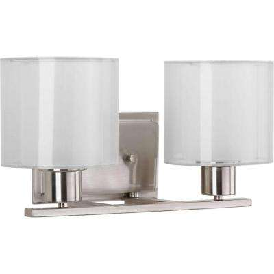 Invite Collection 2-Light Brushed Nickel Bathroom Vanity Light