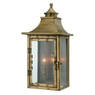 St. Charles Collection Wall-Mount 2-Light Outdoor Aged Brass Light Fixture