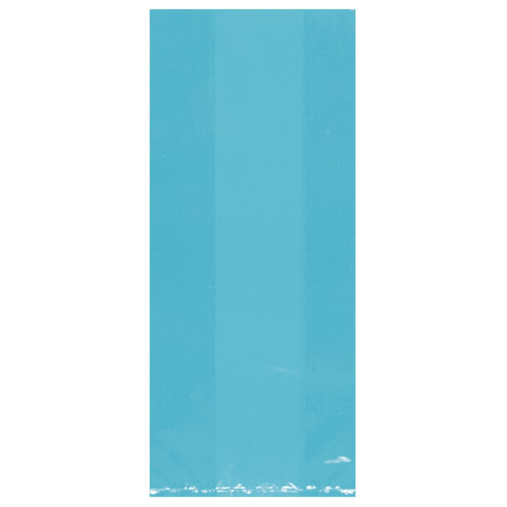 11.5 in. x 5 in. Caribbean Blue Cellophane Party Bags (25-Count,