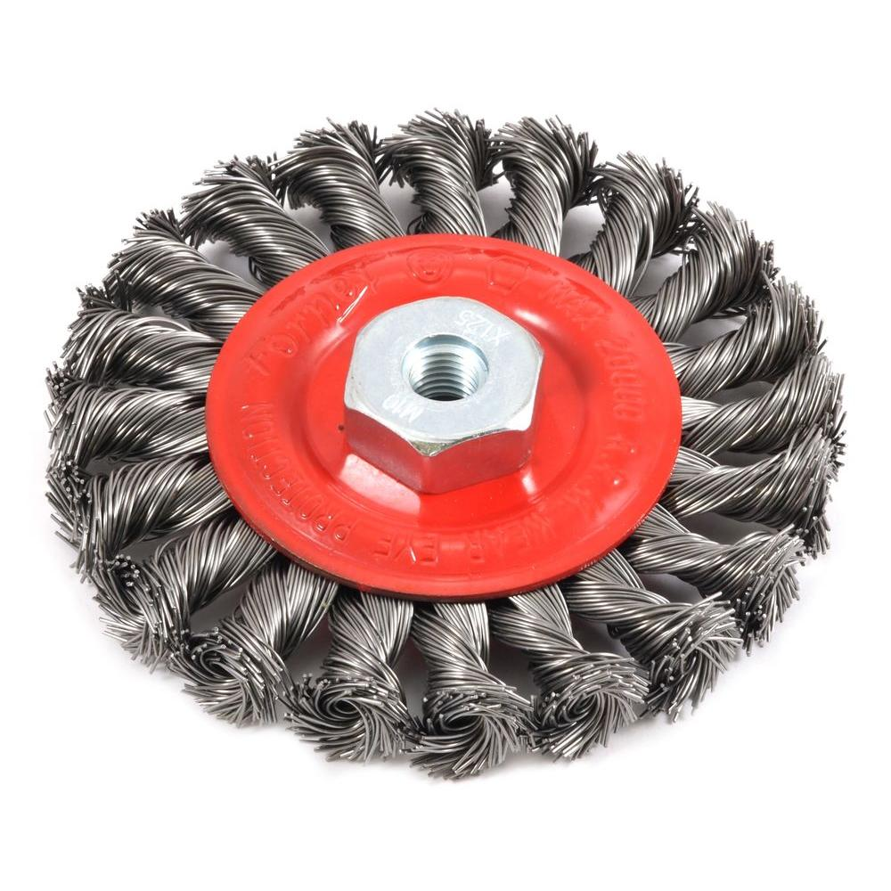 4 in. x M10 x 1.25 Arbor Twist Knot Wire Wheel