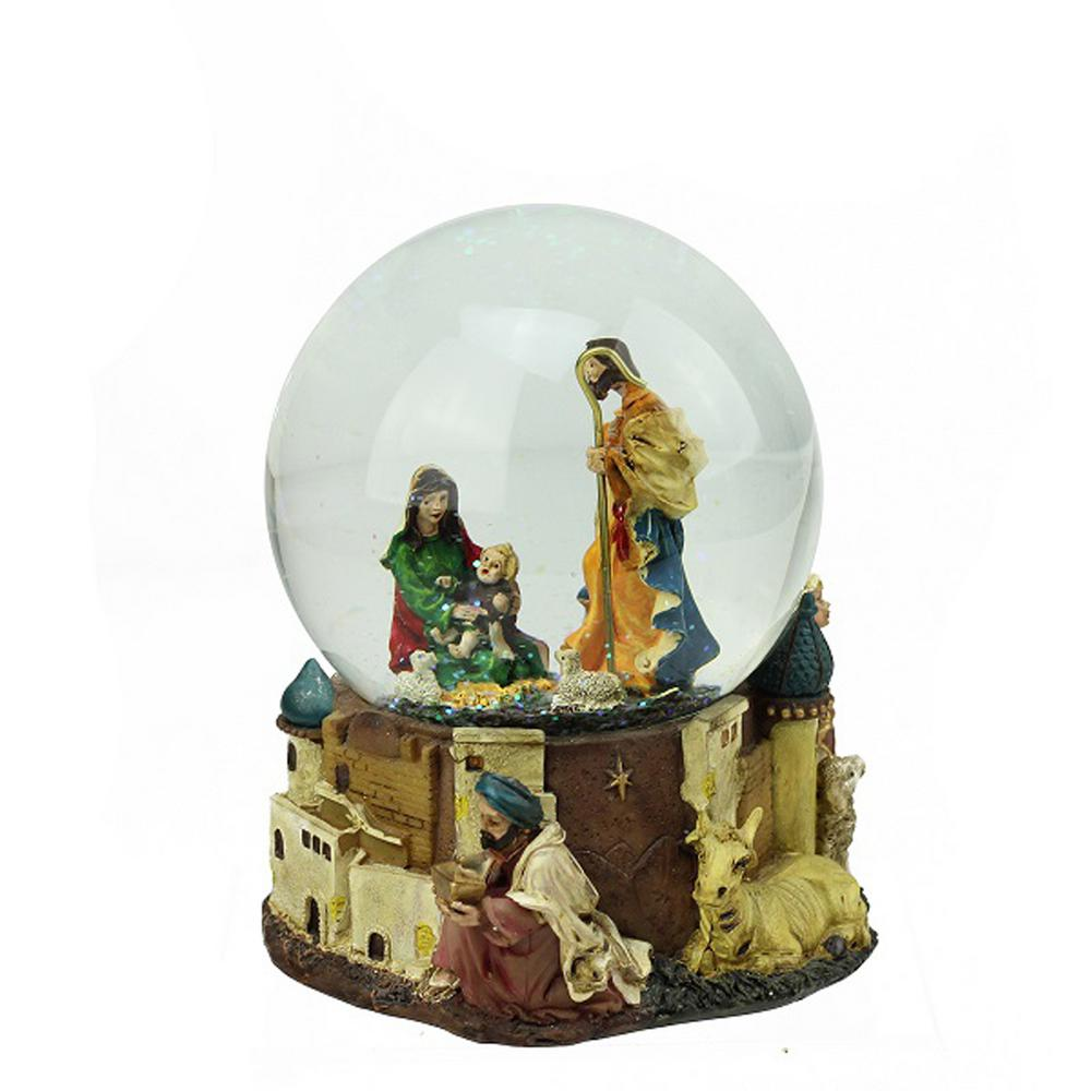 Northlight 5.5 in. Christmas Nativity Scene Religious Inspirational Musical Snow Globe Glitterdome Letting Jesus into your life is even easier when you can have the whole family. Celebrate Christmas with the Holy Family as they were on that historic night. Globe interior depicts an exquisitely detailed Nativity scene featuring Mary Joseph and Baby Jesus accented with iridescent glitter. Base features the 3 Wisemen with their gifts of frankincense myrrh and gold in hand. Winds up and plays in. Silent Night. Recommended for indoor use. Dimensions: 5.5 in. H x 4.25 in. W x 4.25 in. D. Material(s): glass/resin.