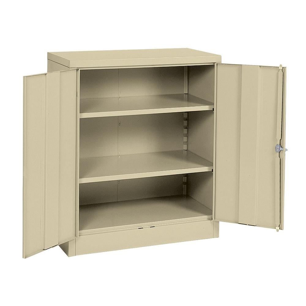Sandusky 42 in. H x 36 in. W x 18 in. D Steel 2-Shelf Quick Assembly Freestanding Storage Cabinet in Putty
