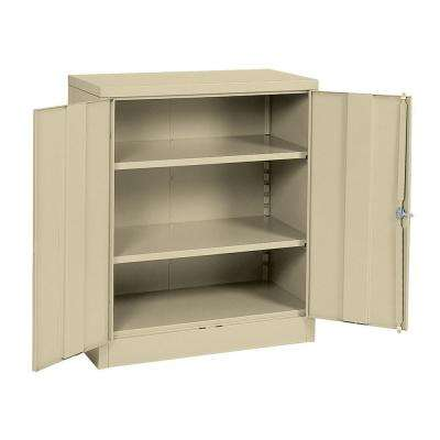 42 in. H x 36 in. W x 18 in. D Steel 3-Shelf Quick Assembly Freestanding Storage Cabinet in Putty
