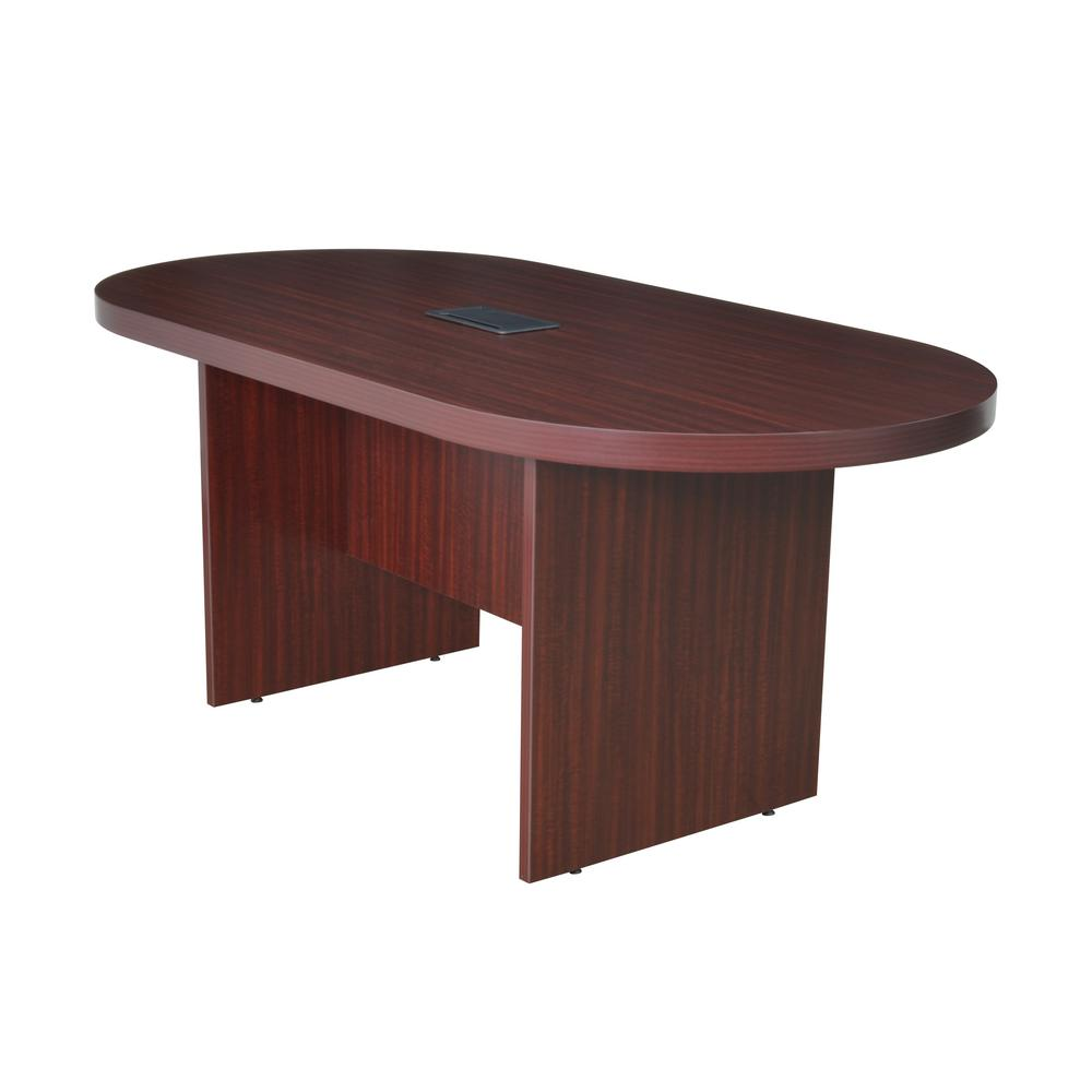 Mahogany Racetrack Conference Table With Data Grommet