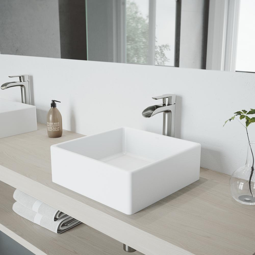 VIGO White Dianthus Matte Stone Vessel Bathroom Sink and Brushed Nickel Niko Faucet Set with Pop-up Drain in Matching Finish, Matte White was $354.9 now $283.9 (20.0% off)