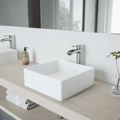White Dianthus Matte Stone Vessel Bathroom Sink and Brushed Nickel Niko Faucet Set with Pop-up Drain in Matching Finish