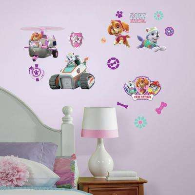 5 in. W x 11.5 in. H Paw Patrol Girl Pups 30-Piece Peel and Stick Wall Decal