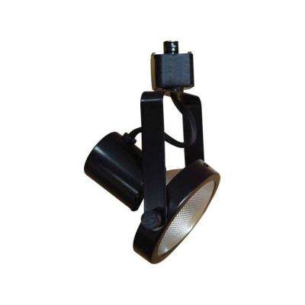 1-Light Black Adjustable Large Gimbal Ring Track Lighting Head