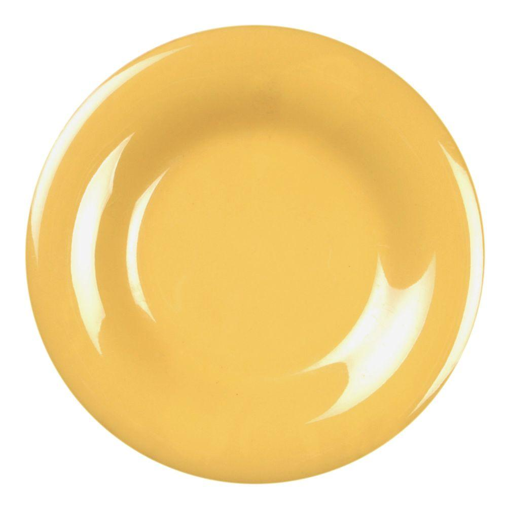 Restaurant Essentials Coleur 10-1/2 in. Wide Rim Plate in Yellow (12-Piece)
