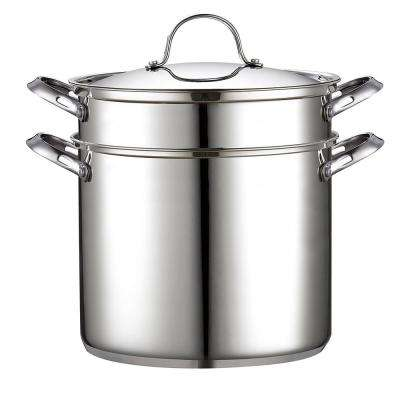 4-Piece 12 Qt. Stainless Steel Pasta Stockpot Cooker Steamer Multipots Set
