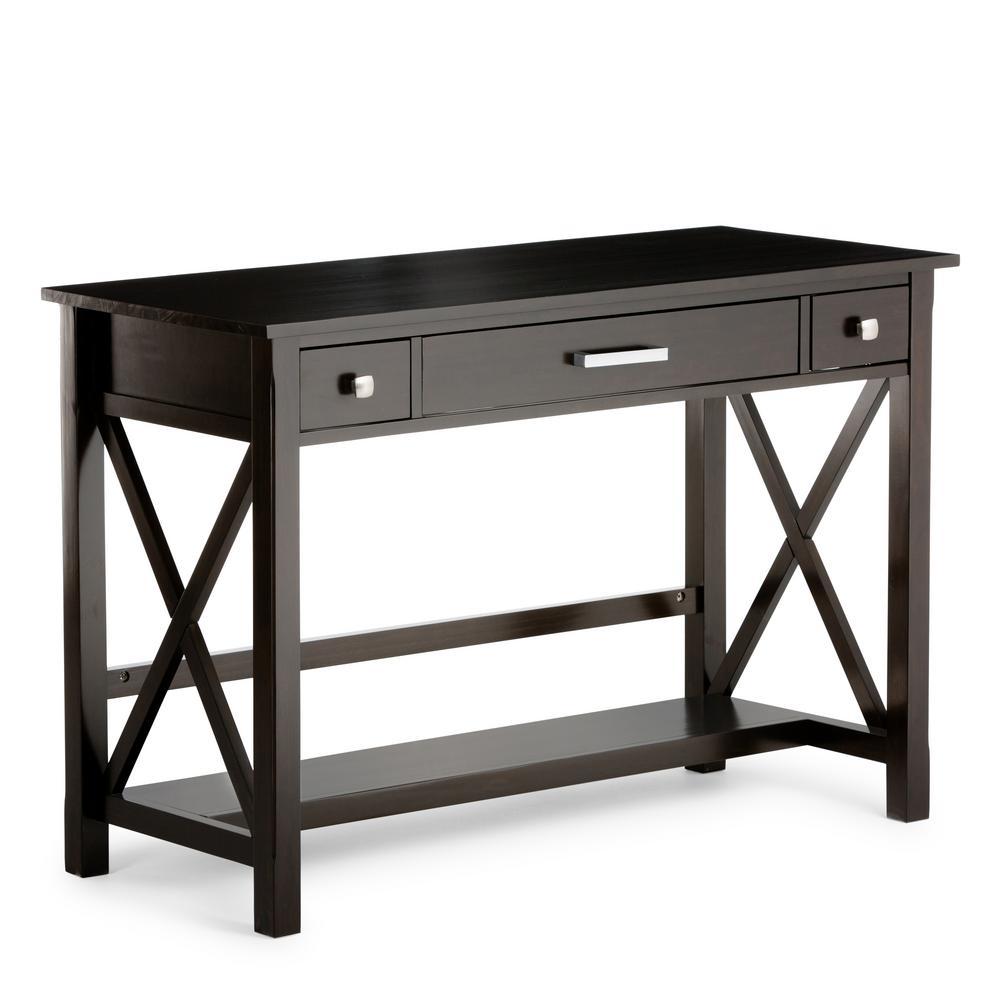 Kitchener Dark Walnut Brown Desk with Keyboard Tray
