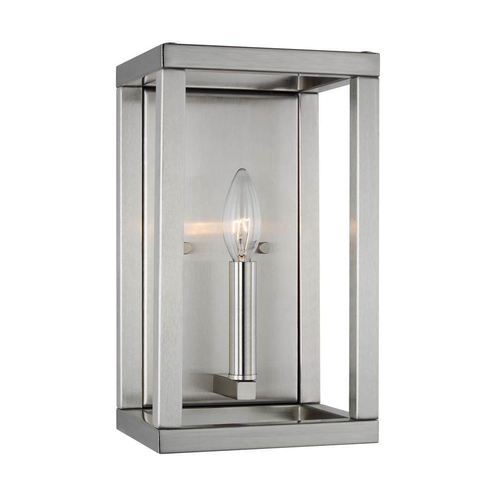 Sea Gull Lighting Moffet Street 7 in. 1-Light Brushed Nickel Sconce