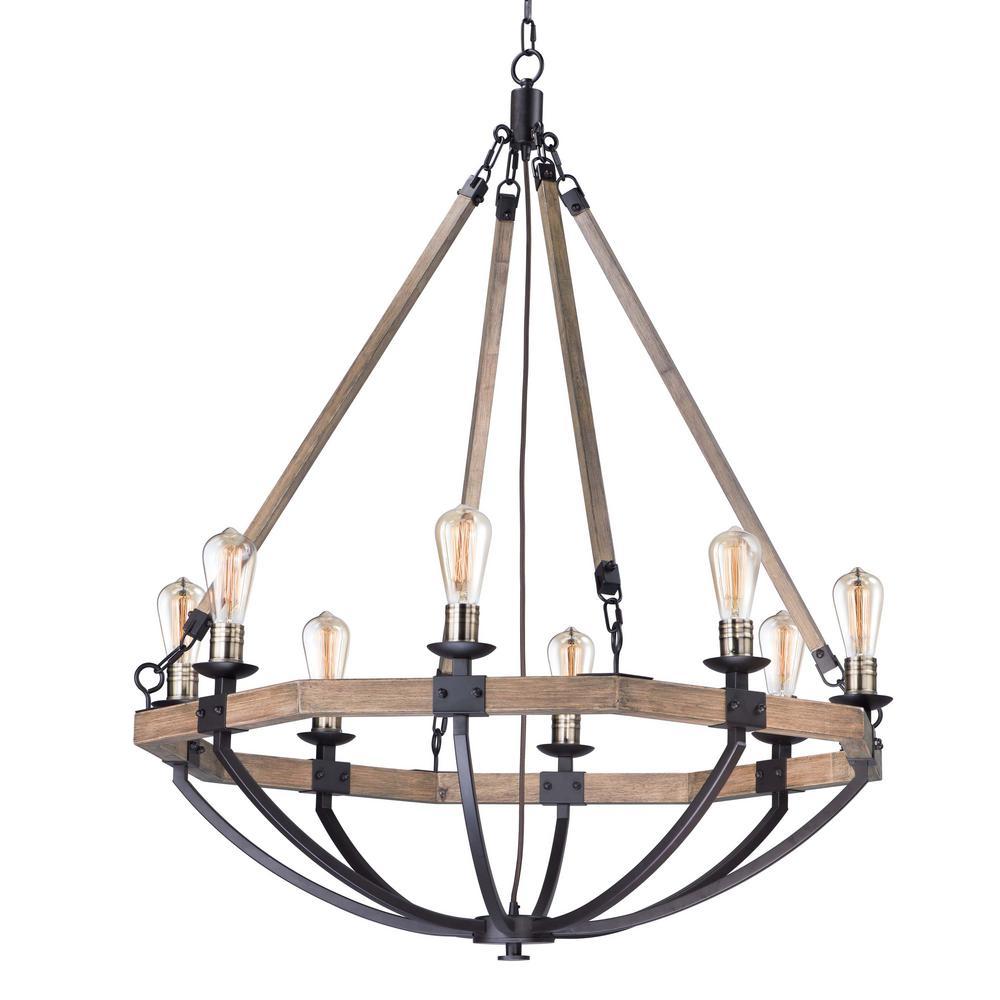 Lodge 8-Light Weathered Oak / Bronze Chandelier