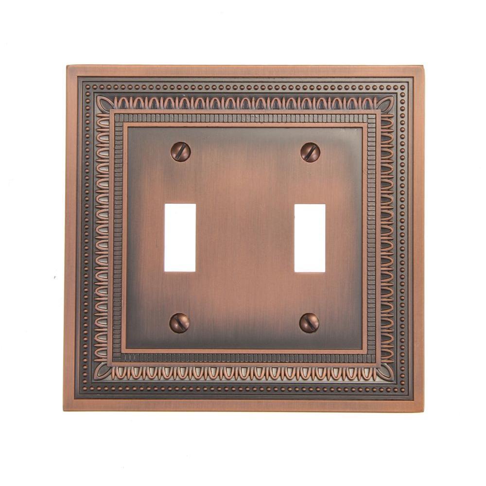 Filigree 2 Toggle Wall Plate - Antique Copper